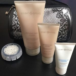 Used, Clarisonic Set,Brush,Skin Polish,cleanser,bag new for sale